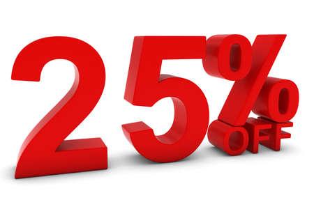 25: 25% OFF - Twenty Five Percent Off 3D Text in Red