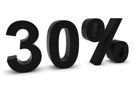 thirty: 30% - Thirty Percent Black 3D Text Isolated on White
