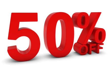 50 off: 50% OFF - Fifty Percent Off 3D Text in Red Stock Photo