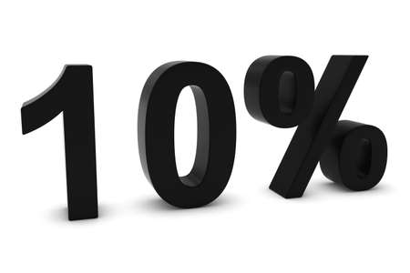 10: 10% - Ten Percent Black 3D Text Isolated on White