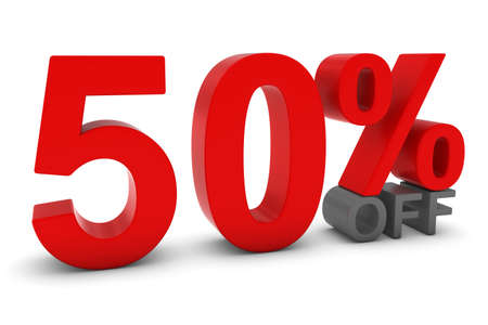 50 off: 50% OFF - Fifty Percent Off 3D Text in Red and Grey