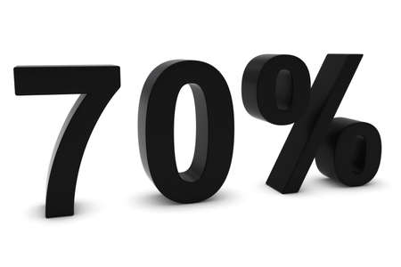 seventy: 70% - Seventy Percent Black 3D Text Isolated on White