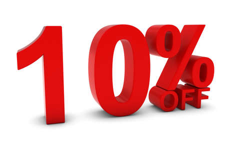 10% OFF - Ten Percent Off 3D Text in Red
