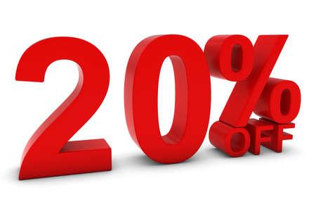 20: 20% OFF - Twenty Percent Off 3D Text in Red