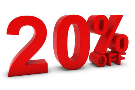 20% OFF - Twenty Percent Off 3D Text in Red