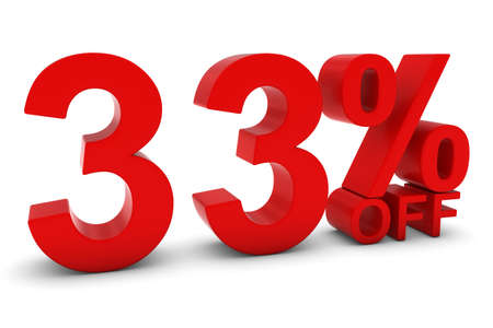thirty percent off: 33% OFF - Thirty Three Percent Off 3D Text in Red