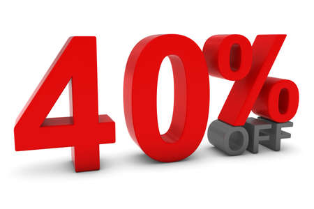 forty: 40% OFF - Forty Percent Off 3D Text in Red and Grey
