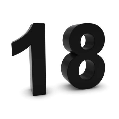 eighteen: Black 3D Number Eighteen Isolated on white with shadows Stock Photo