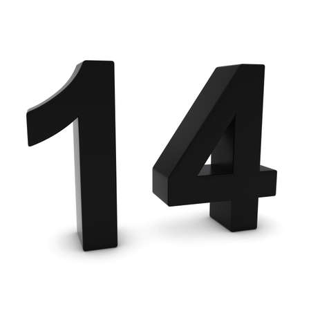 fourteen: Black 3D Number Fourteen Isolated on white with shadows