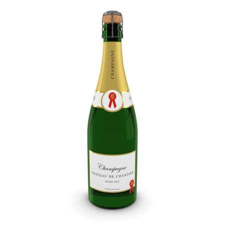 3D geef van een champagnefles die op Wit met Shadows Stockfoto