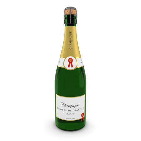 corked: 3D render of a Champagne Bottle Isolated on White with Shadows