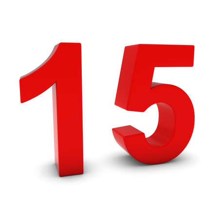 fifteen: Red 3D Number Fifteen Isolated on white with shadows Stock Photo