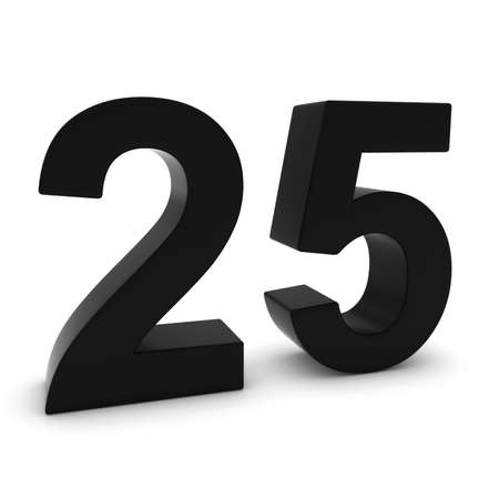 twenty five: Black 3D Number Twenty Five Isolated on white with shadows Stock Photo