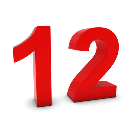 number 12: Red 3D Number Twelve Isolated on white with shadows Stock Photo