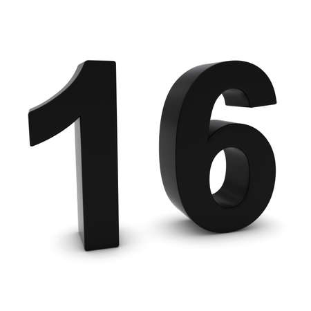 number 16: Black 3D Number Sixteen Isolated on white with shadows Stock Photo