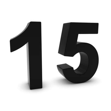 fifteen: Black 3D Number Fifteen Isolated on white with shadows