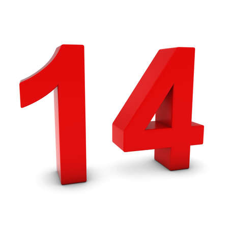 number 14: Red 3D Number Fourteen Isolated on white with shadows Stock Photo