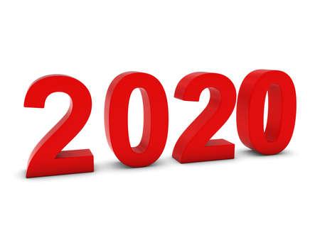 twenty: Red 2020 3D Numbers - Year Twenty Twenty Isolated on White Stock Photo