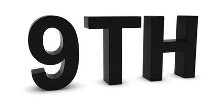 9th: 9TH - Black 3D Ninth Text Isolated on White