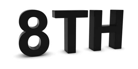eighth: 8TH - Black 3D Eighth Text Isolated on White