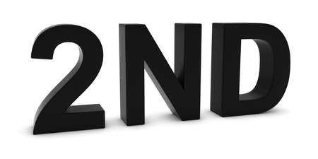 2nd: 2ND - Black 3D Second Text Isolated on White Stock Photo