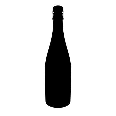 closed corks: Corked Champagne Bottle AlphaSelection Mask Silhouette Isolated on White