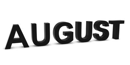 month 3d: AUGUST Black 3D Month Text Isolated on White Stock Photo