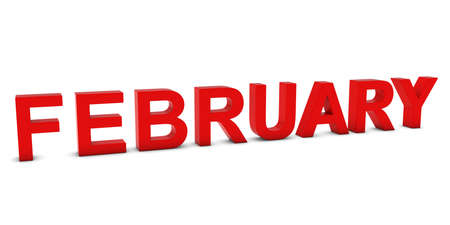 month 3d: FEBRUARY Red 3D Month Text Isolated on White Stock Photo