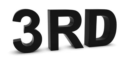 3rd: 3RD - Black 3D Third Text Isolated on White