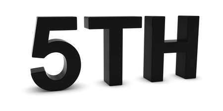 Ordinal: 5TH - Black 3D Fifth Text Isolated on White