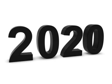 twenty: Black 2020 3D Numbers - Year Twenty Twenty Isolated on White
