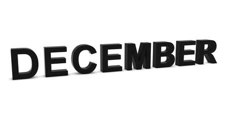 month 3d: DECEMBER Black 3D Month Text Isolated on White Stock Photo