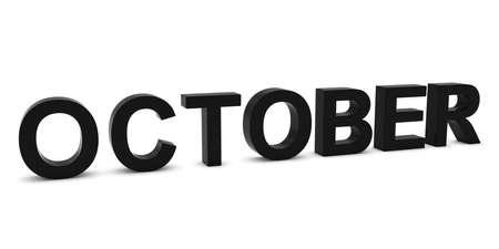 month 3d: OCTOBER Black 3D Month Text Isolated on White