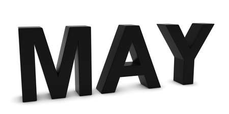 month 3d: MAY Black 3D Month Text Isolated on White Stock Photo