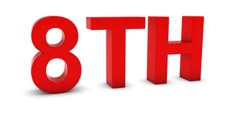 eighth: 8TH - Red 3D Eighth Text Isolated on White Stock Photo