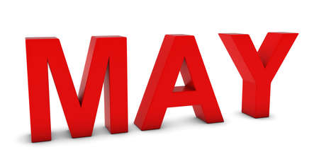 month 3d: MAY Red 3D Month Text Isolated on White Stock Photo