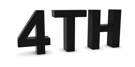 Ordinal: 4TH - Black 3D Fourth Text Isolated on White Stock Photo