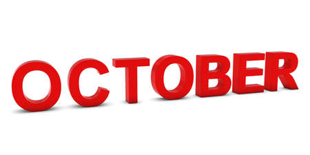 month 3d: OCTOBER Red 3D Month Text Isolated on White Stock Photo