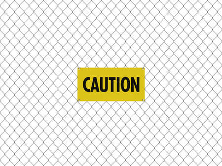 fencing wire: CAUTION Sign Seamless Tileable Steel Chain Link Fence