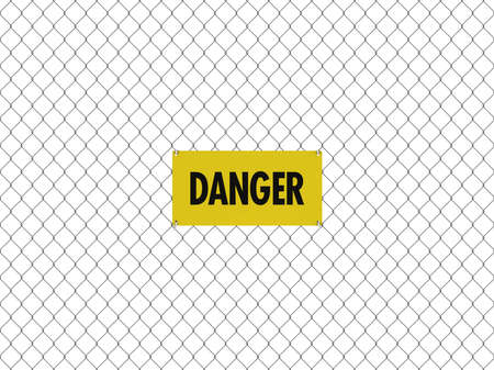 chain link fence: DANGER Sign Seamless Tileable Steel Chain Link Fence