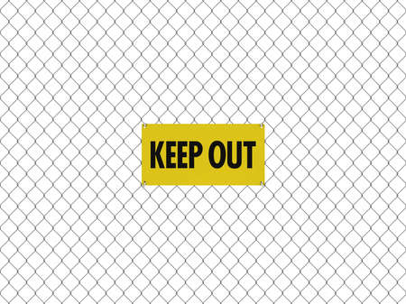 diamond shape: KEEP OUT Sign Seamless Tileable Steel Chain Link Fence Stock Photo