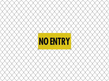 NO ENTRY Sign Seamless Tileable Steel Chain Link Fence Stock Photo