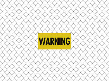 chain link fence: WARNING Sign Seamless Tileable Steel Chain Link Fence