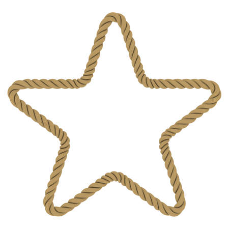 Rope Star Shape Isolated on White Background Фото со стока