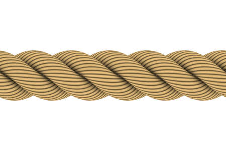 res: Seamless Tileable 3D Rope Illustration Isolated on White Background
