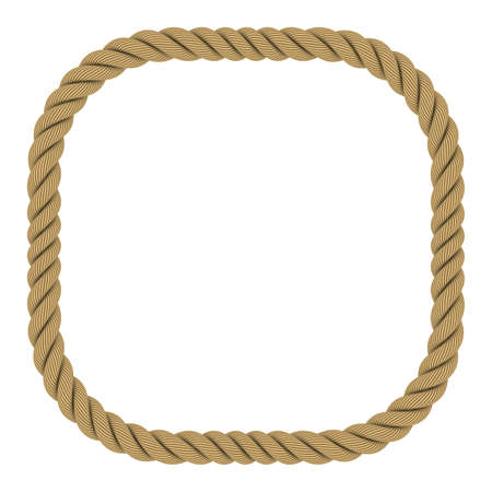 Rounded Square Rope Frame Isolated on White Background