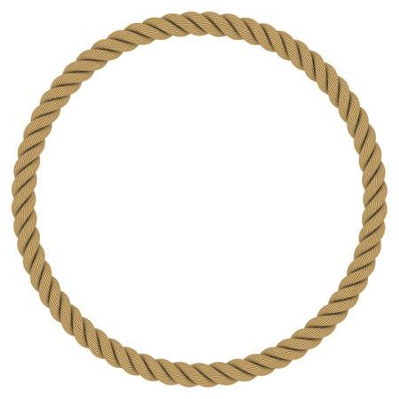 porthole: Rope Circle - Circular Rope Frame Isolated on White Background Stock Photo