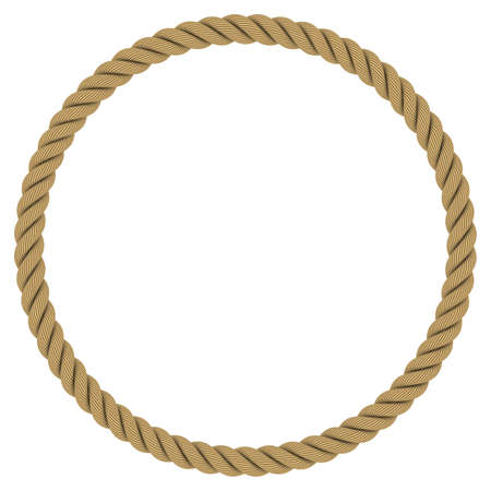 Rope Circle - Circular Rope Frame Isolated on White Background Banco de Imagens
