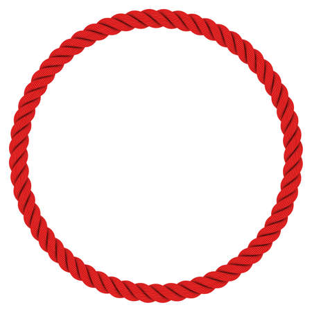 Red Rope Circle - Circular Red Rope Frame Isolated on White Background