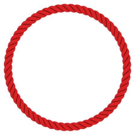 Rotes Seil-Kreis - Kreis rotes Seil-Feld auf weißen Hintergrund